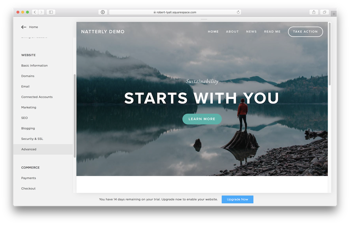 A screenshot of the Squarespace interface with Advanced highlighted